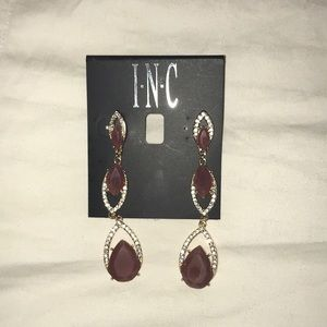INC Purple and Gold Long Earrings
